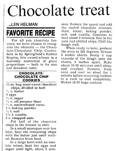 An article with recipes for chocolate chip cookies, Boston Herald newspaper article 12 December 1990