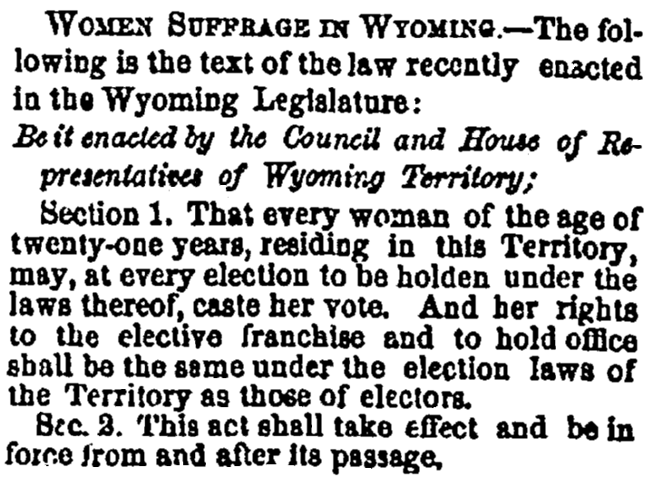An article about women's suffrage in Wyoming, Daily Albany Argus newspaper article 17 December 1869