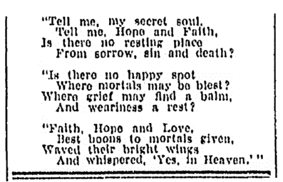 A poem that was added to Isabella Houston's obituary, Daily Telegram newspaper article 27 November 1922