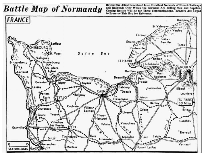 Battle map of Normandy, France, Dallas Morning News newspaper article 11 June 1944