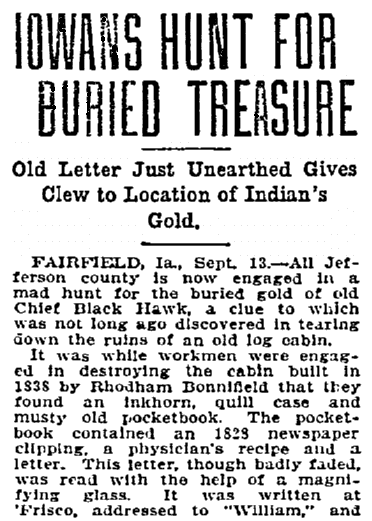 An article about the discovery of an old, forgotten letter, Duluth News-Tribune newspaper article 14 September 1906