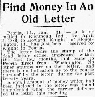 An article about the discovery of an old, forgotten letter, Evening News newspaper article 31 January 1906