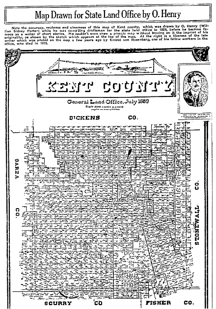 Map of Kent County, Texas, Fort Worth Star-Telegram newspaper article 25 November 1917
