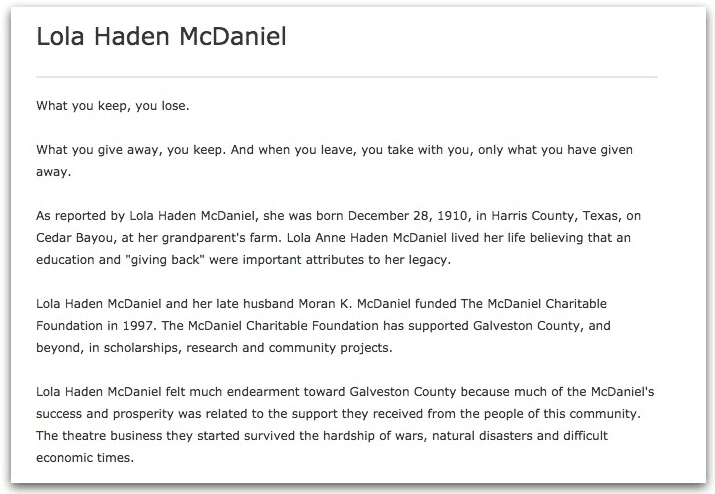 An obituary for Lola Haden McDaniel, Galveston County Daily News newspaper article 29 August 2010