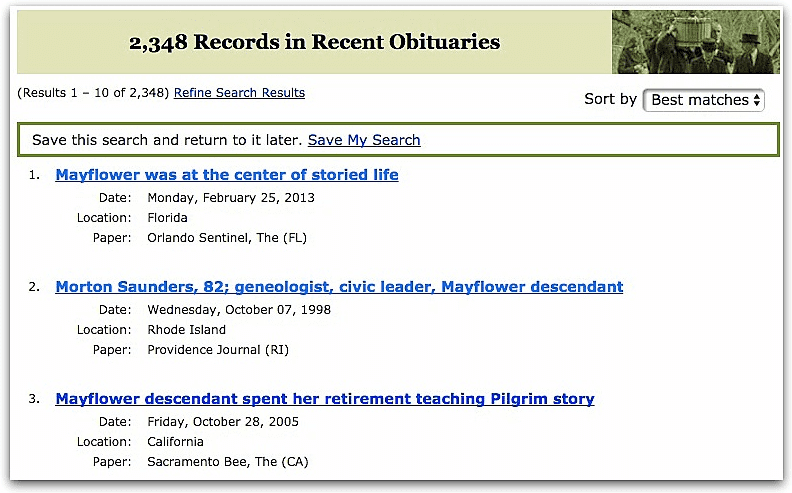 """A screenshot of GenealogyBank's Search Results page showing the results of a search for the keywords """"Mayflower"""" and """"descendant"""""""