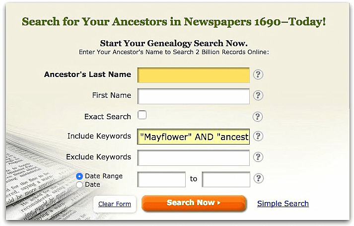 "A screenshot of GenealogyBank's search page showing a search for ""Mayflower"" and ""ancestor"""