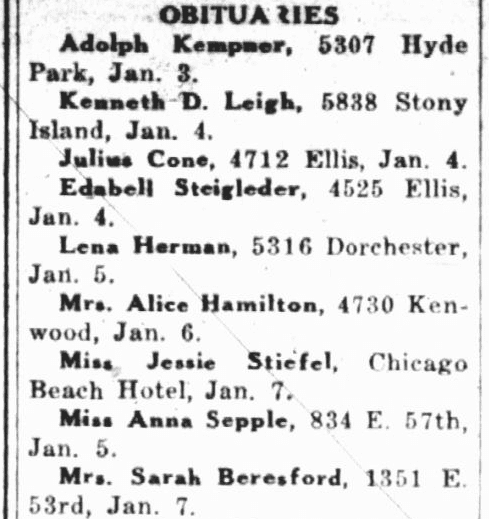 Obituaries, Hyde Park Herald newspaper article 12 January 1939