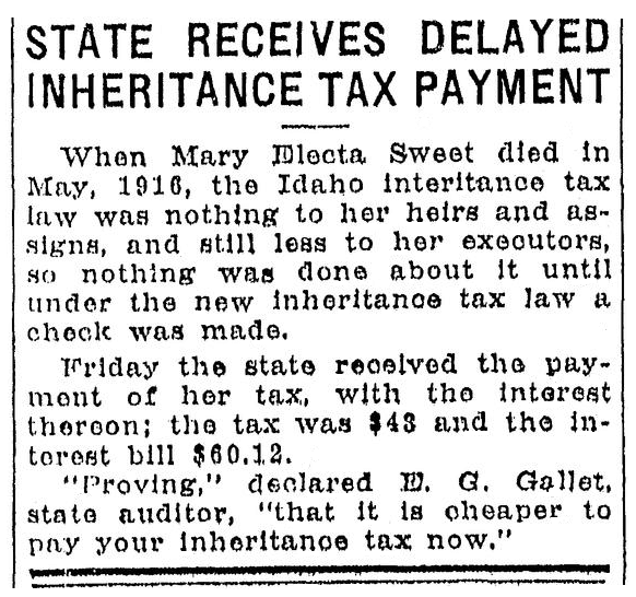 An article about the inheritance tax on the estate of Mary Sweet, Idaho Statesman newspaper article 17 May 1930