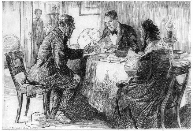 """Illustration: """"Man Reading Letter to Old Lady and Man across a Table,"""" by Thomas Fogarty"""