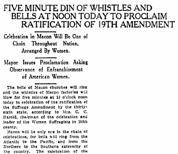 An article about women's suffrage and ratification of the 19th Amendment, Macon Telegraph newspaper article 21 August 1920