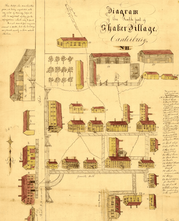 Map: the south part of Shaker Village, Canterbury, New Hampshire, by Peter Foster, 1849