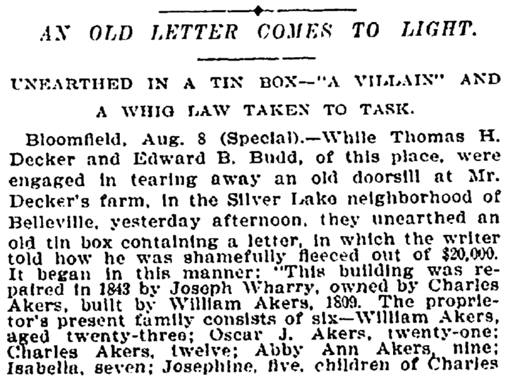 An article about the discovery of an old, forgotten letter, New York Tribune newspaper article 9 August 1898