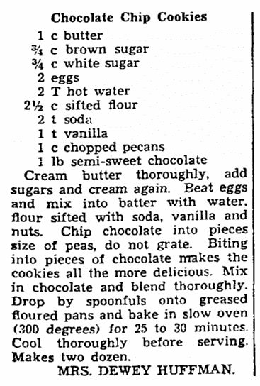 An article with recipes for chocolate chip cookies, Plain Dealer newspaper article 7 February 1938