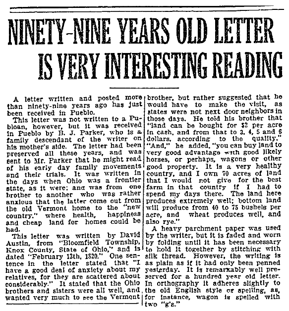 An article about the discovery of an old, forgotten letter, Pueblo Chieftain newspaper article 31 July 1919