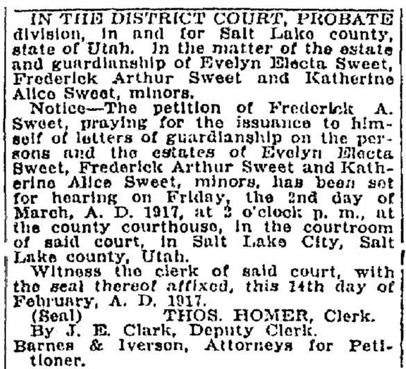 An article about the probate of the estate of Mary Sweet, Salt Lake Telegram newspaper article 21 February 1917