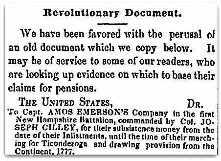 An article about the First New Hampshire Batallion during the American Revolutionary War, Weekly Union newspaper article 22 June 1853