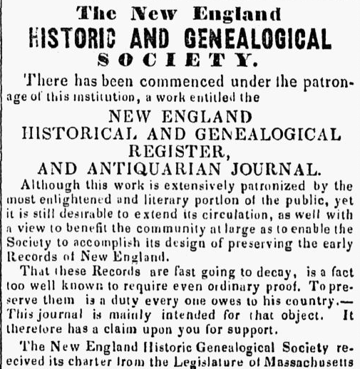 An article about the New England Historic Genealogical Society, Berkshire County Whig newspaper article 15 June 1848