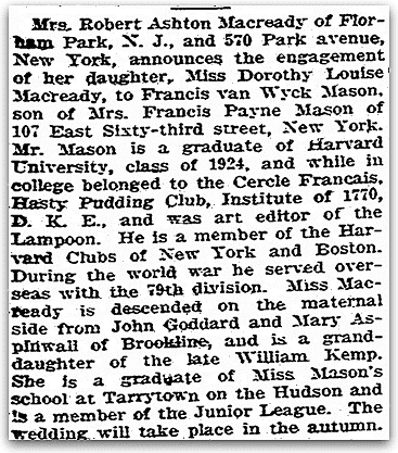 An engagement notice for Dorothy Louise Macready and Francis Van Wyck Mason, Boston Herald newspaper article 2 April 1927
