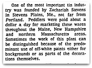 An article about Zachariah Stevens and tinware, Boston Herald newspaper article 27 June 1971