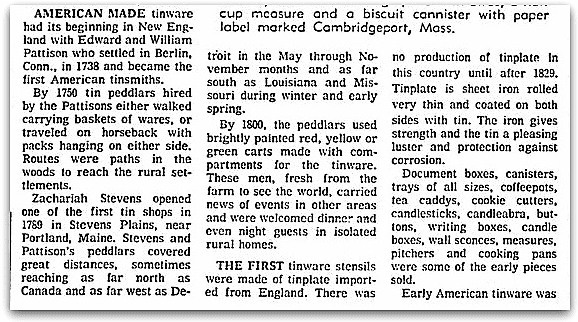 An article about Zachariah Stevens and tinware, Boston Herald newspaper article 25 August 1968