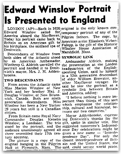 An article about Edward Winslow's portrait, Boston Traveler newspaper article 3 July 1953