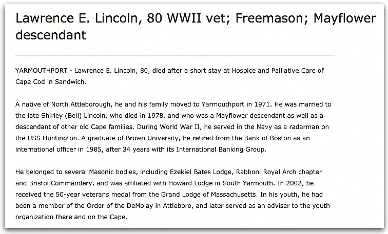 An obituary for Lawrence Lincoln, Cape Cod Times newspaper article 25 October 2007