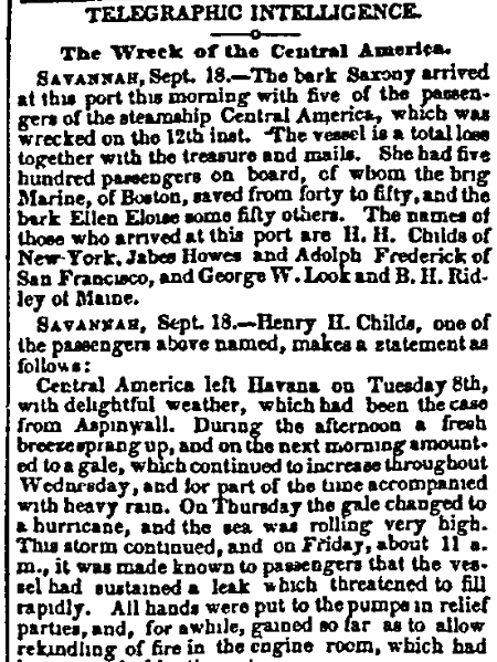 An article about the shipwreck of the SS Central America, Charleston Mercury newspaper article 19 September 1857