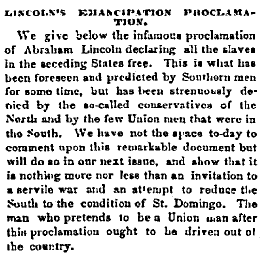An article about Abraham Lincoln and the Emancipation Proclamation, Chattanooga Daily Rebel newspaper article 2 October 1862