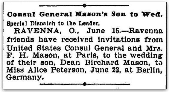A wedding notice for Dean Mason and Alice Peterson, Cleveland Leader newspaper article 16 June 1905