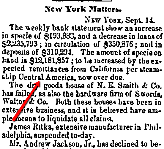 An article about the shipwreck of the SS Central America, Daily Commercial Register newspaper article 15 September 1857