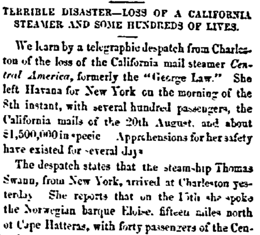 An article about the shipwreck of the SS Central America, Daily National Intelligencer newspaper article 18 September 1857