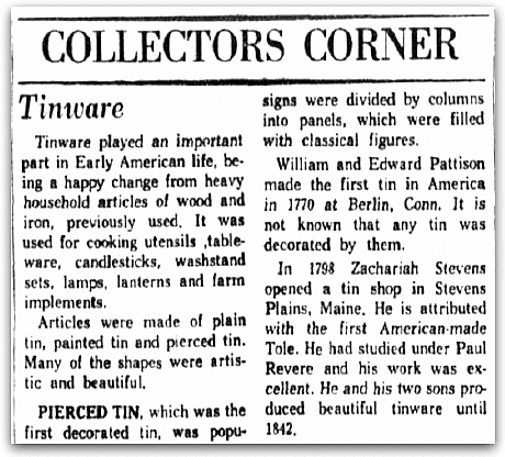 An article about Zachariah Stevens and tinware, Dallas Morning News newspaper article 14 December 1959