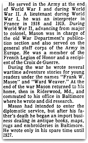 An obituary for Francis Van Wyck Mason, Evening Star newspaper article 30 August 1978