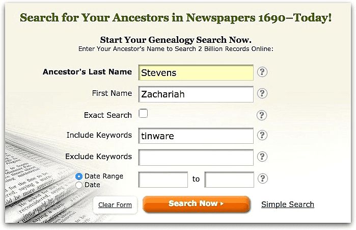 """A screenshot of GenealogyBank's search page showing a search for Zachariah Stevens and """"tinware"""""""