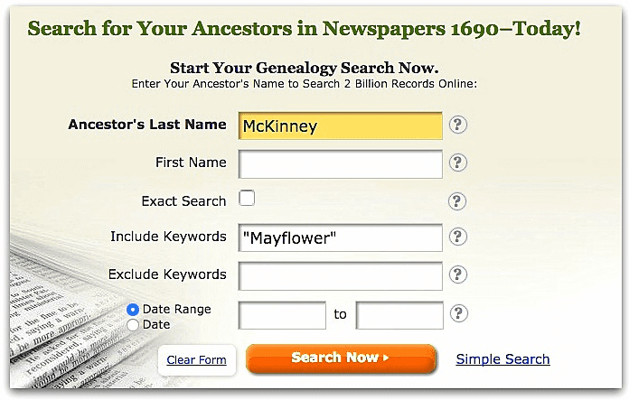 "A screenshot of GenealogyBank's search page showing a search for McKinney and ""Mayflower"""