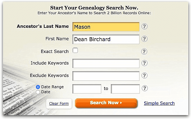 """A screenshot of GenealogyBank's search page showing a search for """"Dean Birchard Mason"""""""
