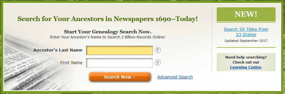 A screenshot of GenealogyBank's homepage showing the announcement for new content added in September 2017