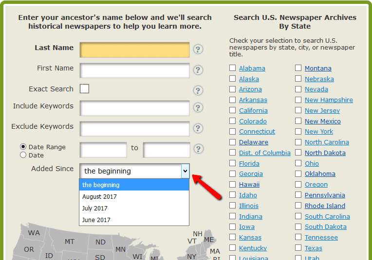 A screenshot of GenealogyBank's newspaper search page showing the feature allowing you to search on newly-added content only