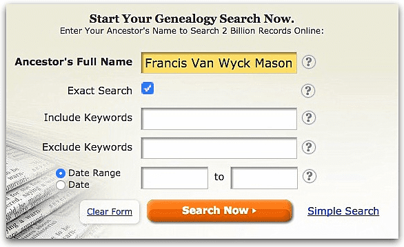 A screenshot of GenealogyBank's search page showing a search for Francis Van Wyck Mason
