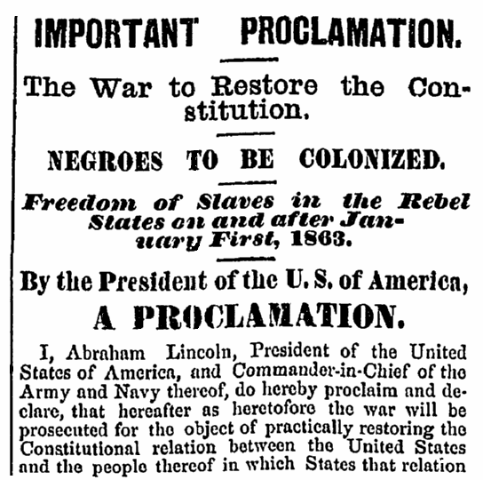 An article about Abraham Lincoln and the Emancipation Proclamation, Hartford Daily Courant newspaper article 23 September 1862