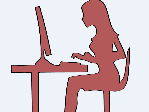 Illustration: a researcher using a computer