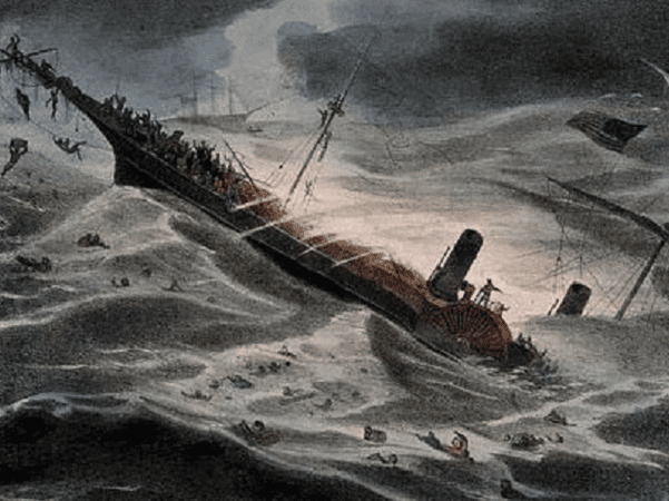 "Illustration: ""The Sinking of the Central America,"" by J. Childs, 1857. Credit: National Maritime Museum, London; Wikimedia Commons."