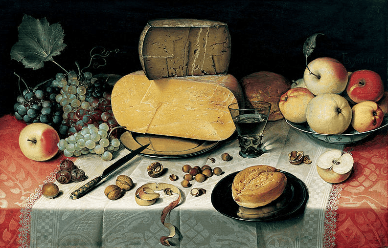 "Painting: ""Still-Life with Fruit, Nuts and Cheese,"" by Floris van Dyck, 1613"