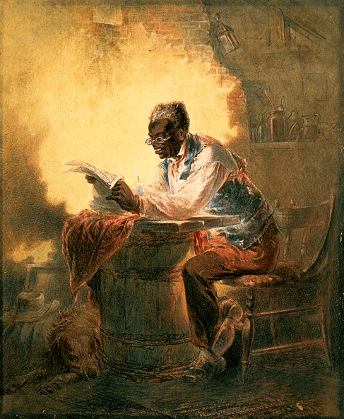 "Illustration: Black man reading newspaper by candlelight with the headline ""Presidential Proclamation, Slavery,"" which refers to the Jan. 1863 Emancipation Proclamation, by Henry Louis Stephens, c. 1863"