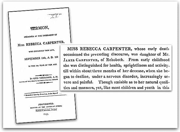 Photo: a funeral sermon for Rebecca Carpenter, 1810