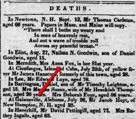 An obituary for Anna Creighton Fox, New-Hampshire Gazette newspaper article 19 September 1843