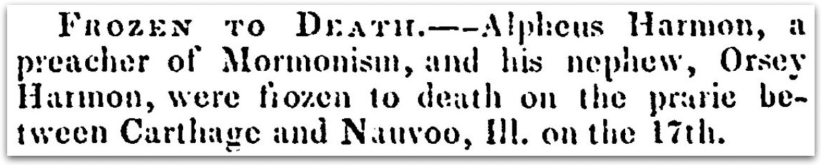 An obituary for Alpheus and Orsey Harmon, New Hampshire Sentinel newspaper article 28 December 1842
