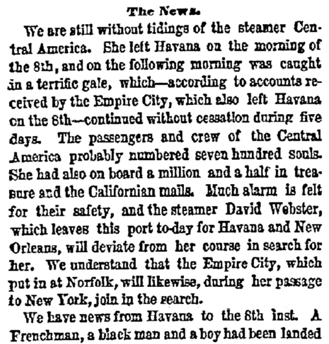 An article about the shipwreck of the SS Central America, New York Herald newspaper article 17 September 1857