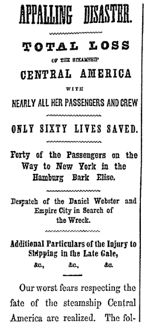 An article about the shipwreck of the SS Central America, New York Herald newspaper article 18 September 1857