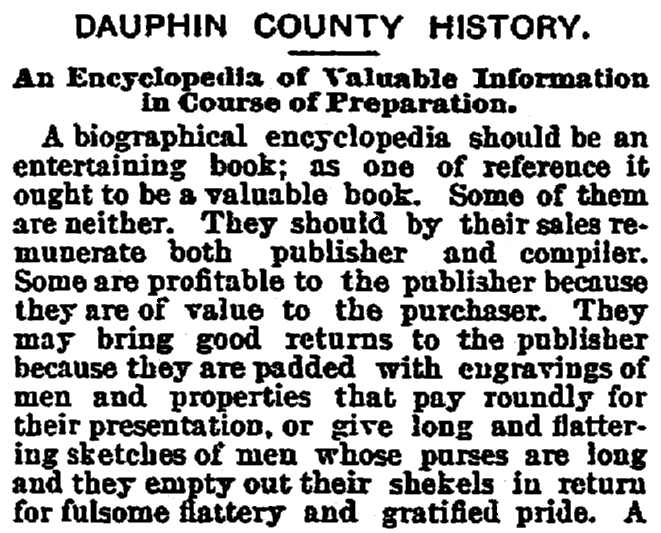 An article about the Dauphin County History book, Patriot newspaper article 2 March 1893